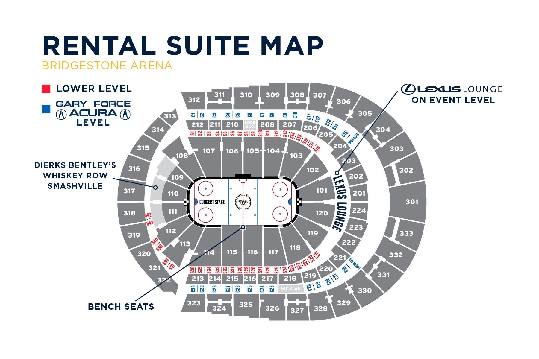 Seating Charts Bridgestone Arena Table Fan Diagram Suite Map